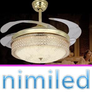 "nimi935 42 ""Invisible Gold Fan Luces de Techo Restaurante Dormitorio Luz Minimalista Moderna Living LED Chandelier Lámparas Colgantes de Cristal"