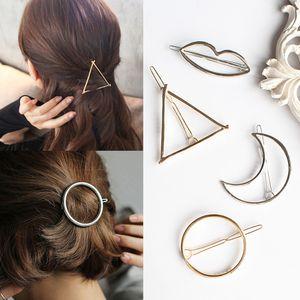 Vintage Gold / Silver Circle Lip Triángulo Moon Hair Pin Clip Niñas Clips para el Cabello Accesorios para el Cabello de Metal