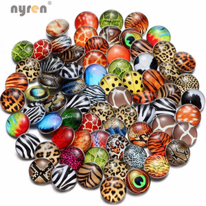 50 pçs / lote charme misturado 18mm animal leopardo animal / stripe theme theme snap button para pulseira de pressão colar diy jóias