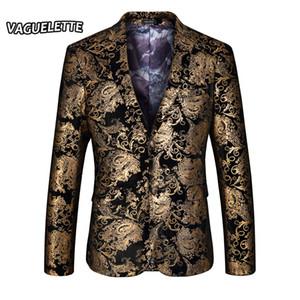Al por mayor de oro con estilo Blazer Hombre imprimió Paisley floral chaqueta del juego de la boda ropa partido de la etapa para el cantante Oro chaqueta para los hombres M-4XL
