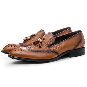 2018 Крокодил зерна коричневый / черный мокасины формальная обувь мужская повседневная обувь из натуральной кожи платье обувь