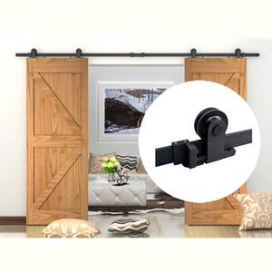 4 -10FT Rustic Steel Black Top Montato Double Wood Door Antique Interno scorrevole Barn Door Hardware Track Set in acciaio al carbonio