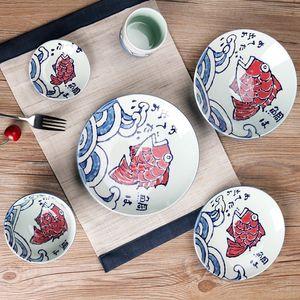 Hand Painted ceramics Japanese-style rice steak plate western food Creative Fish plate tableware set cartoon pictures