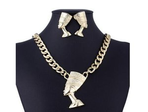 Nuevo clásico exagerado conjunto de joyería femenina símbolo correcto del egipcio faraón aleación joyería clásico cadena de clavícula