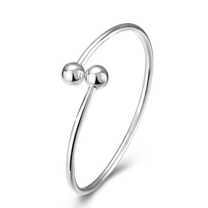 Pulsera 100% Real 925 Sterling Silver Torque Overlapping Ball ajustable