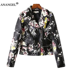 Wholesale-2016 New Fashion Autumn Winter Women  Faux Soft Leather Jackets Pu Print Flowers Zippers Long Sleeve Motorcycle Coat