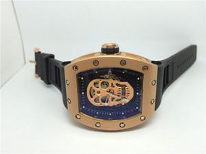 Nuovo arrivo orologio sportivo da uomo Top vendita qualità orologi di lusso meccanico orologio da polso meccanico cinturino in gomma nera rosa oro quadrante cranio 023