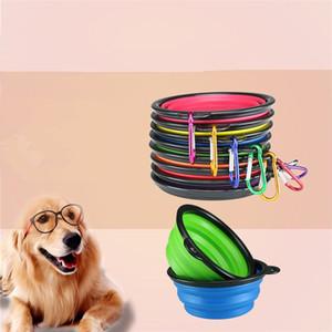 recipiente para perros nueva silicona plegable extensible Copa del plato para mascotas alimentador de agua Alimentación Alimentación portátil tazón portátil de viaje Cuenco con mosquetón IC801