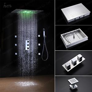 임베디드 벽 마운트 샤워 꼭지 현대 3 단계 온도 조절 샤워 컨트롤러와 레인 샤워를 주도