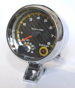 3.75 '' 80mm 0 ~ 8000 Takometre Ölçer Karbon Fiber Yüz Takometre RPM Ölçer RPM Metre Ile RPM Shift Işık Otomatik Ölçer