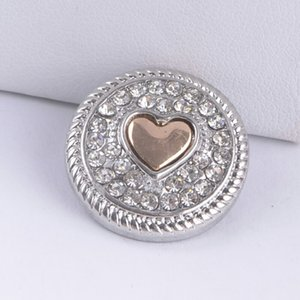 Noosa Snap Button 18MM Corazón Rhinestone Ginger Snap Chunk Charm Button Interchangtable Diy Jewelry Noosa Button Para Noosa Pulsera