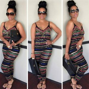 Sexy Summer Combinaisons Club Backless Spaghetti Strap Full Pants Striped Print Woman Discothèque Clubwear Jumpsuits Casuall Jumpsuits Plus Size