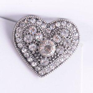 Новейшая кнопка-имбирь в форме сердца 18 мм горный хрусталь Noosa Snap-кнопка Сменные Diy Jewerly Chunk Button Для Noosa Браслет-ожерелье