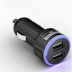 LED Azul Color de luz Anillo Círculo Doble 2 DUAL MINI USB CARGADOR DC 5V 2.1A PARA galaxy note Para teléfono celular MP3 MP4 Negro / Blanco
