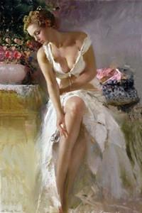Genuine Pure Hand Painted Impressional Art Pintura a óleo sobre tela, menina bonita sentada na cama