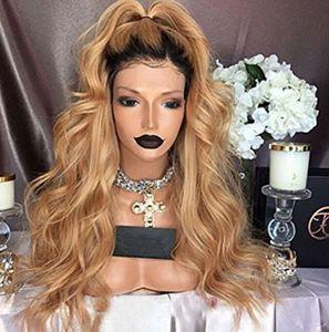Honey Blonde Lace Front Perücke Glueless Volle Spitzeperücken Menschenhaar Ombre Perücke Black Roots 1B 27 Körperwelle Brasilianisches Reines Haar