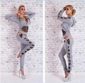 New Spring Sport Suit Donna Fashion Felpa Print Tute da donna 2 pezzi Jogging Sets W80
