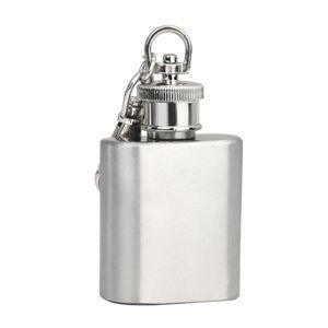 Forte Durable Portable 1 oz Mini Hanche En Acier Inoxydable Flacon Alcool Vin Flagon Avec Porte-clés Fiole de haute qualité par dhl gratuite