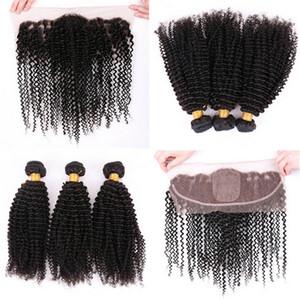 Mongol 9A Kinky Curly Soie Base Dentelle Frontale Avec Des Faisceaux De Cheveux Soie Base Oreille À Oreille Dentelle Frontaux Avec Des Cheveux Weaves