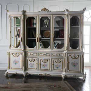 High end classic villa furniture - solid wood frame with cracking paint study room furniture - French style bookcase