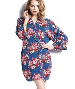 2016 womens cotton 꽃 로브 숙녀 잠옷 란제리 속옷 기모노 목욕 가운 pjs 잠옷 # 4003