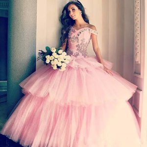 Ball Gown Off Shoulder Pink Quinceanera Dresses For Sweet 15 Princess Tiered Tulle Long Debutante Gown For Graduation