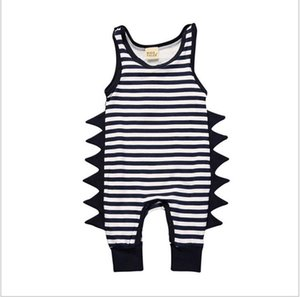 2017 New Summer Baby Dinosaur Rompers Toddler Boys Girls Striped Sleeveless Jumpsuits Infant Cotton One-Piece Kids Casual Onesies Retail