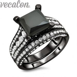 Vecalon Trendy Wedding Band Anel Set para As Mulheres 4ct Preto Cz anel de Diamante 10KT Blimulated diamante Cz 10KT Preto Gold Filled Feminino partido anel