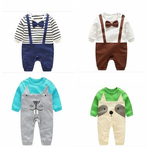 New autumn cotton baby rompers newborn cute striped jumpsuits carton animal infant romper Newborn Clothes rompers top quality