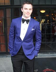 Custom Made Damat smokin Royal Blue Suit Notch Yaka Damat Groomsmen Erkekler Siyah Pantolon 2021 Düğün Suit (Ceket + Pantolon + Kravat + Yelek)