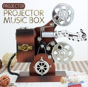 Projecteur de film Boîte à musique en plastique Boîtes de rangement de bijoux Grande boîte à musique Accueil Carrousel Boîte à musique à manivelle Creative Birthday Christmas gif