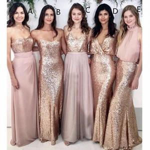 Modest Erröten rosa Brautjungfernkleider Strand-Hochzeit mit Rose Goldsequin Nicht übereinstimm Hochzeit Trauzeugin Kleider Frauen-Partei Formal Wear