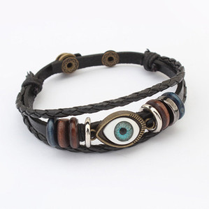 Bracelets Wholesales Fashion Women Punk High Quality Vintage Eyes Multilayer PU Leather Charm Bracelets Jewelry Free Shipping BR443
