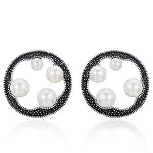 빈티지 진주 라운드 귀걸이를 입으십시오 Retro Stud Earrings 여성용 귀걸이를 시뮬레이션하십시오 여성 쥬얼리