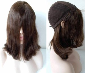 Meilleur humain Cheveux raides Couleur 4 Meilleur Sheitels 4x4 Top en soie Perruques casher Mongolie Finest Virgin Perruques juive Capless Perruques Livraison gratuite