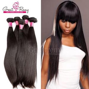 """5 шт. / лот 100 перуанских человеческих волос Weave двойной уток расширения 8 """"~30"""" необработанные девственные волосы естественный цвет окрашиваемый Greatremy шелковистый прямой"""