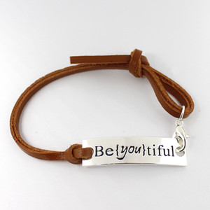Eosmer estampillé bracelet inspirant: Be {you} tiful. Encourager bracelet de citation Bracelet cadeau inspirant 10pcs / lot, livraison gratuite
