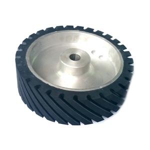 250*75*25mm Grooved Rubber Contact Wheel Dynamically Balanced Belt Sander Polisher Grinder Wheel Sanding Belt Set