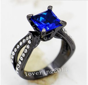 Wholesale - Size5 6 7 8 9 10 Vintage Lovers Jewelry 10KT Black Gold Filled sapphire Gem women lady&039;s Wedding Engagement Ring for love gi