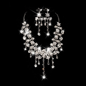 Sparkly Bling Crystals Diamond Necklace Jewelry Sets 2020 Bridal Earrings Rhinestone Crystal Party Cheap Wedding Accessories Free Shipping