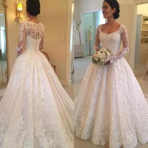 Vintage eine Linie Spitze Brautkleider 2018 mit langen Ärmeln Scoop Neck Sweep Zug-Hochzeits-wulstige Brdial Kleider