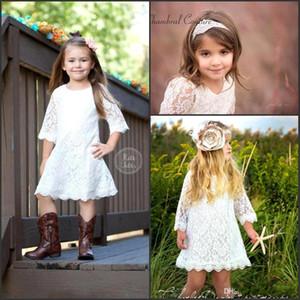 Marfim Da Criança Flor Meninas Vestidos de 2019 Chegada Nova Laço Na Altura Do Joelho País Princesa Vestido Formal Jóia Meia Mangas Saias Criança Pequena