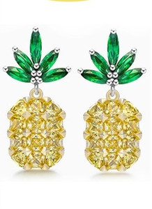 S925 silver fashion personality Europe hot money female Mini pineapple earrings earrings all-match paragraph temperament casual fashion simp