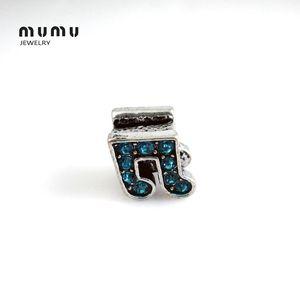 Placcato argento gioielli fai da te nota musicale perline blu / bianco cristallo aolly big hole branello allentato adatto europeo serpente charms bracciali spedizione gratuita