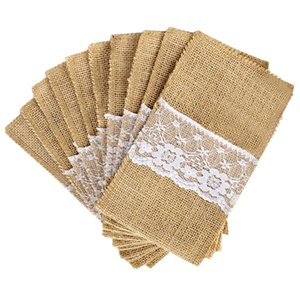 Nuevo diseño 100 unids / lote soporte de cubiertos de arpillera vintage shabby chic yute encaje vajilla bolsa embalaje tenedor cuchillo bolsillo textiles para el hogar