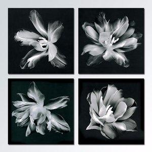 4 pz / set Bianco e nero prospettiva fiori Decorazione wall art immagini Tela Pittura su parete home decor Hanging unframed