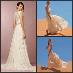 2019 Nuevos vestidos de novia de playa de dos piezas Joya escote de encaje Vestidos de novia A-Line Vestido de gasa de longitud de piso barato 276