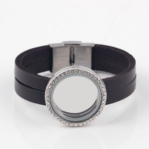 Al por mayor-1pc Fashion Wrap Glass Living Locket pulsera del encanto 30mm Locket flotante pulsera de cuero para mujeres / hombres