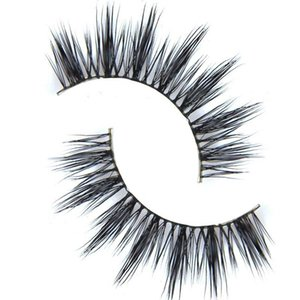 Wholesale-D-6 1 Pair Women  100% Real Mink Thick 3D False Eyelashes Popular Messy Nature Eye Lashes Black Handmade Lashes Extension