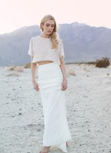 Роскошные из бисера двух частей свадебные платья ножна длина пола шифон пляж свадебные платья скромные свадебные платья с рукавом 2015-свадебное платье